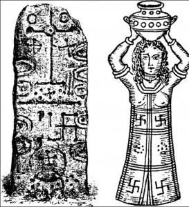 Representación de dioses  con el símbolo de la Cruz Gamada.